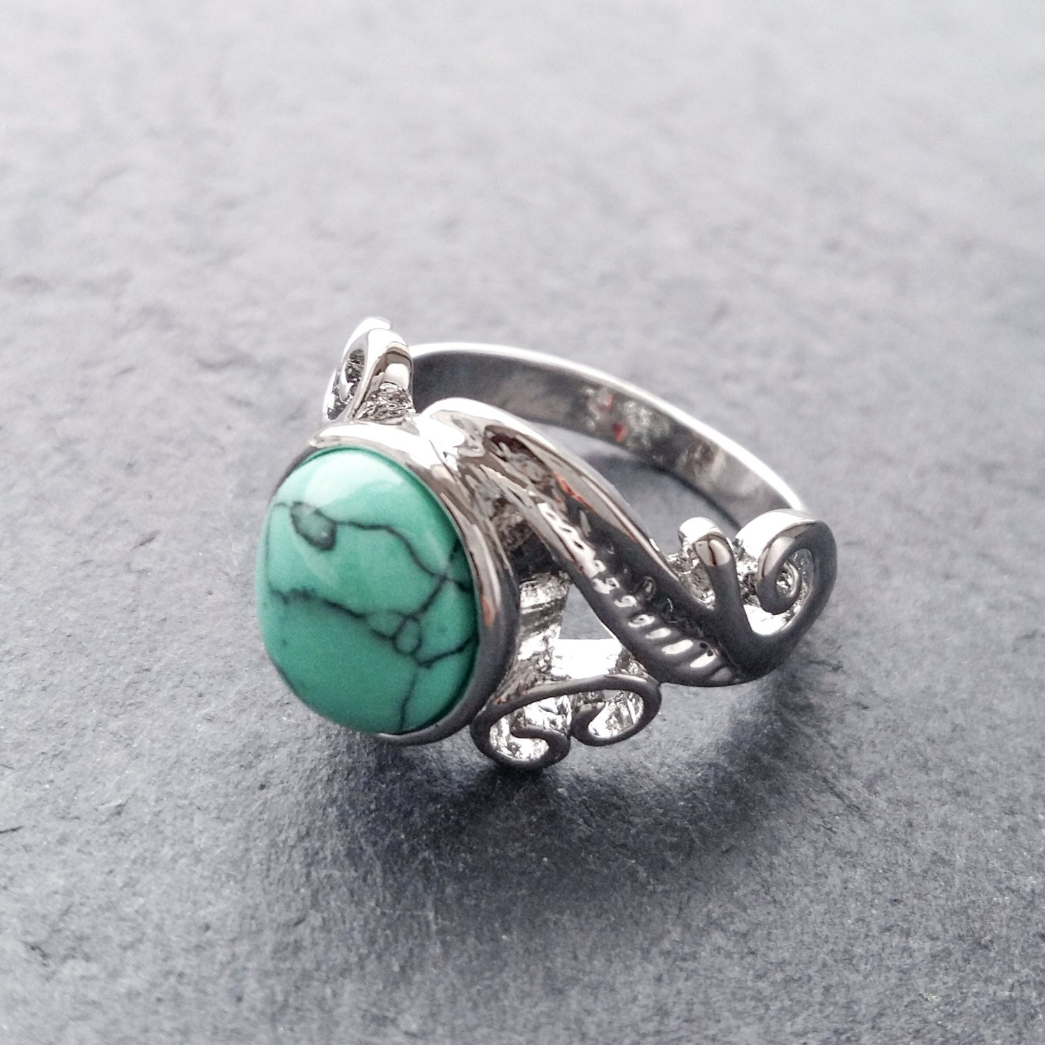 Bohemian Turquoise Stone Silver Ring  Boho Ornate Vintage Jewellery Aztec Armour Festival StyleThumb Rings Gemstone US Size 678