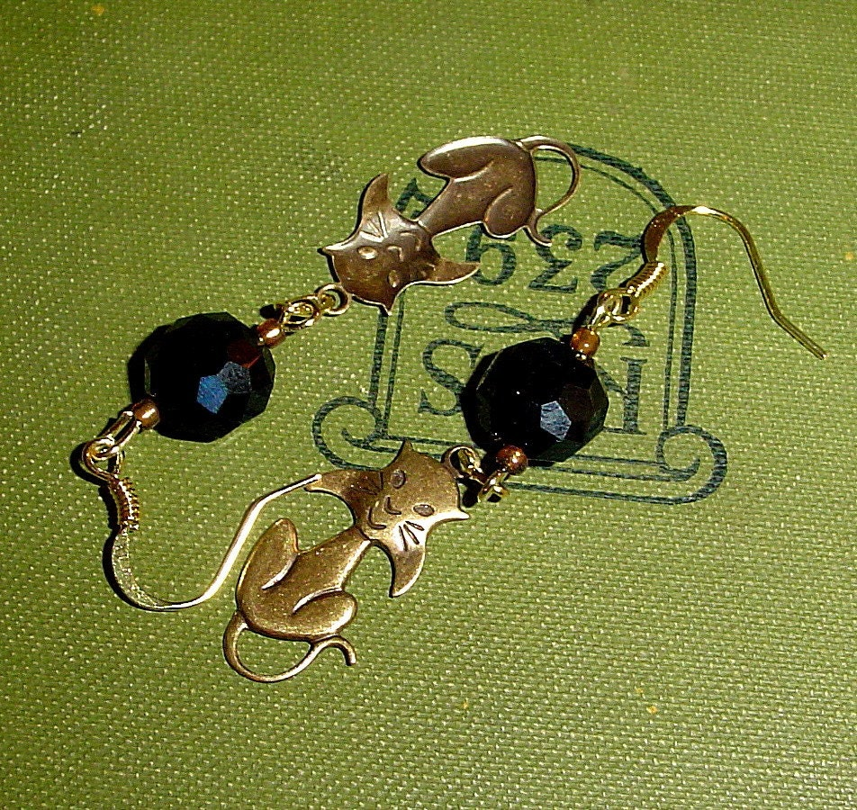 Elegant cat earrings, with brass kitty charms and black crystals