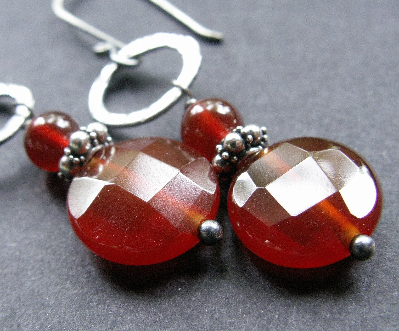 handmade jewelry earrings carnelian sterling silver oxidized