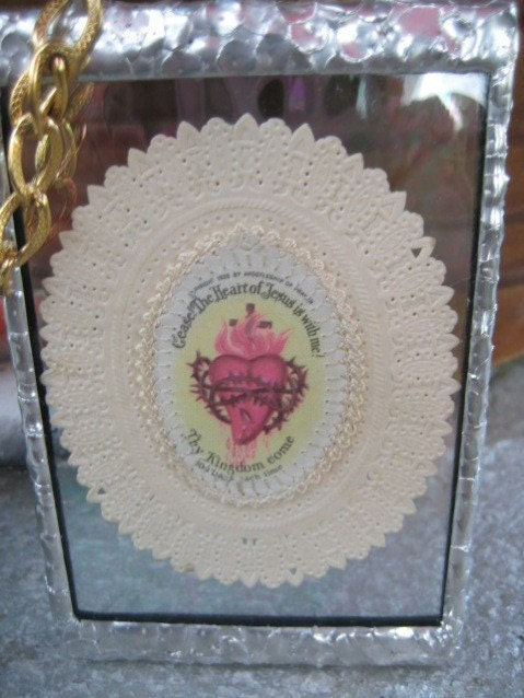 Antique Sacred Heart Badge Stained Glass Wall Art