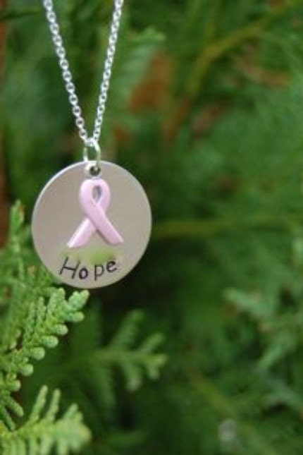 Sterling Silver Pink Ribbon Breast Cancer Necklace - DONATED by PersonalExpression