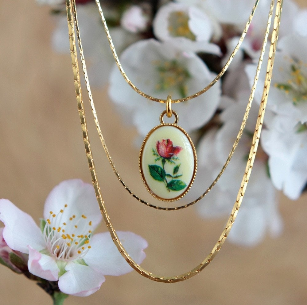 Triple Layered Gold plated Vintage flower Necklace