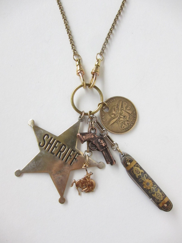 Head Em Up, Move Em Out - necklace - antique vintage assemblage