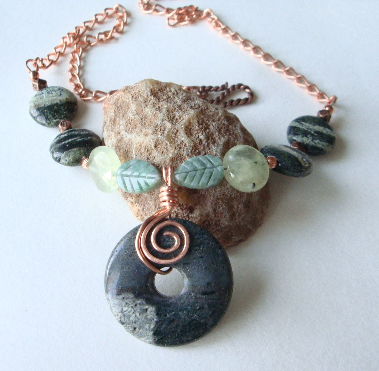 Green Zebra Jasper, Prehnite, China Jade, and Copper Necklace