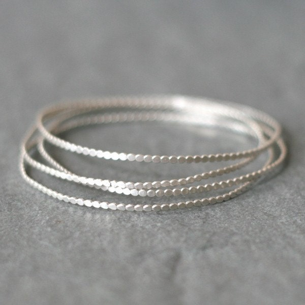 Tiny Circle Bangle in Sterling Silver (Set of Two)