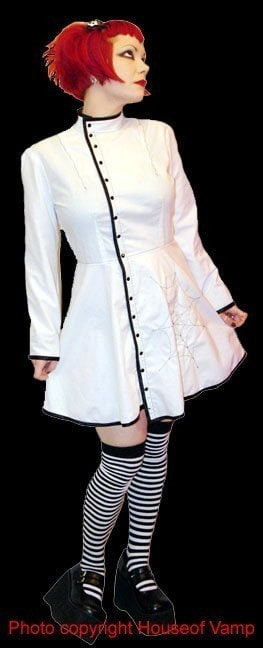 Custom Made in YOUR SIZE Steampunk Gothic Mad Science Lab Coat Dress