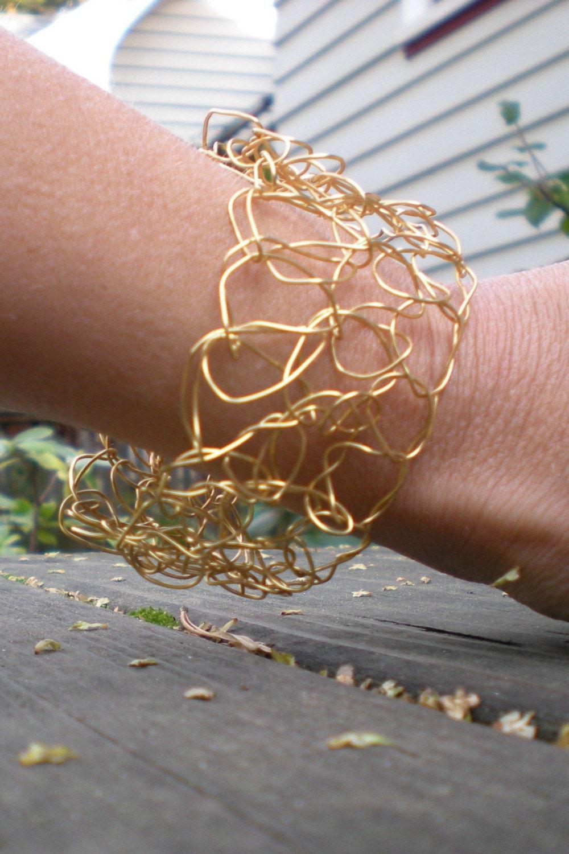 Crocheted Gold Bracelet