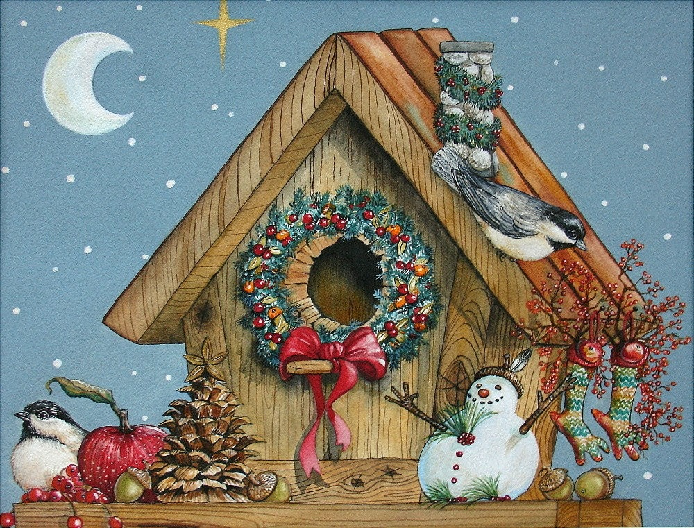 Artrussell Framed Original Painting Holiday Birdhouse