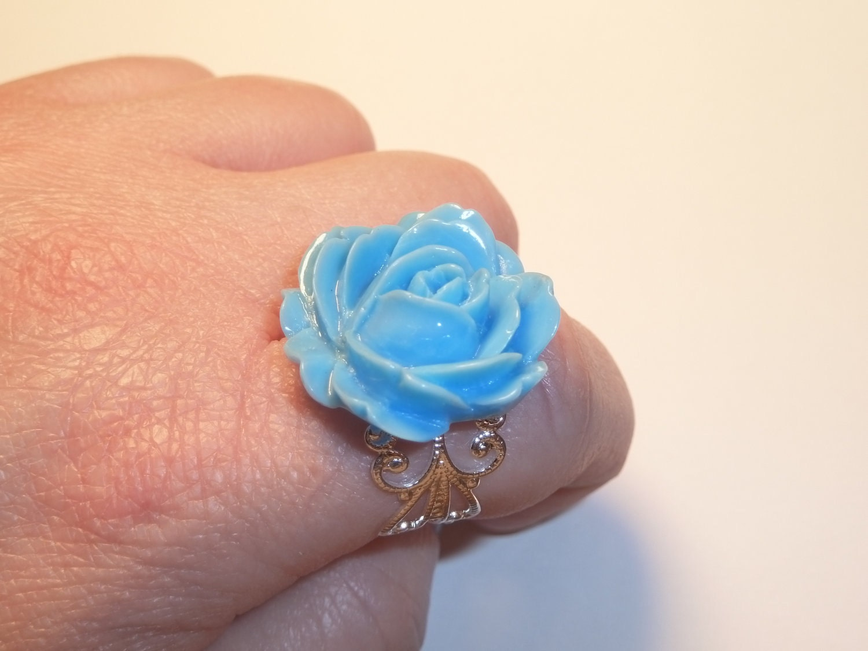 Glossy Sky Blue Rose Ring