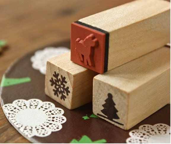 Deer, Snow Flake & Christmas Tree Stamps by Adore Neko