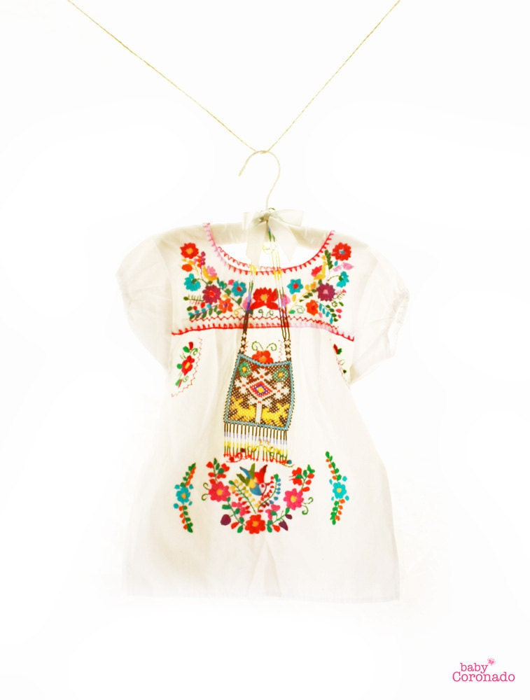 Baby mexican dress puff sleeves mini tunic peace by