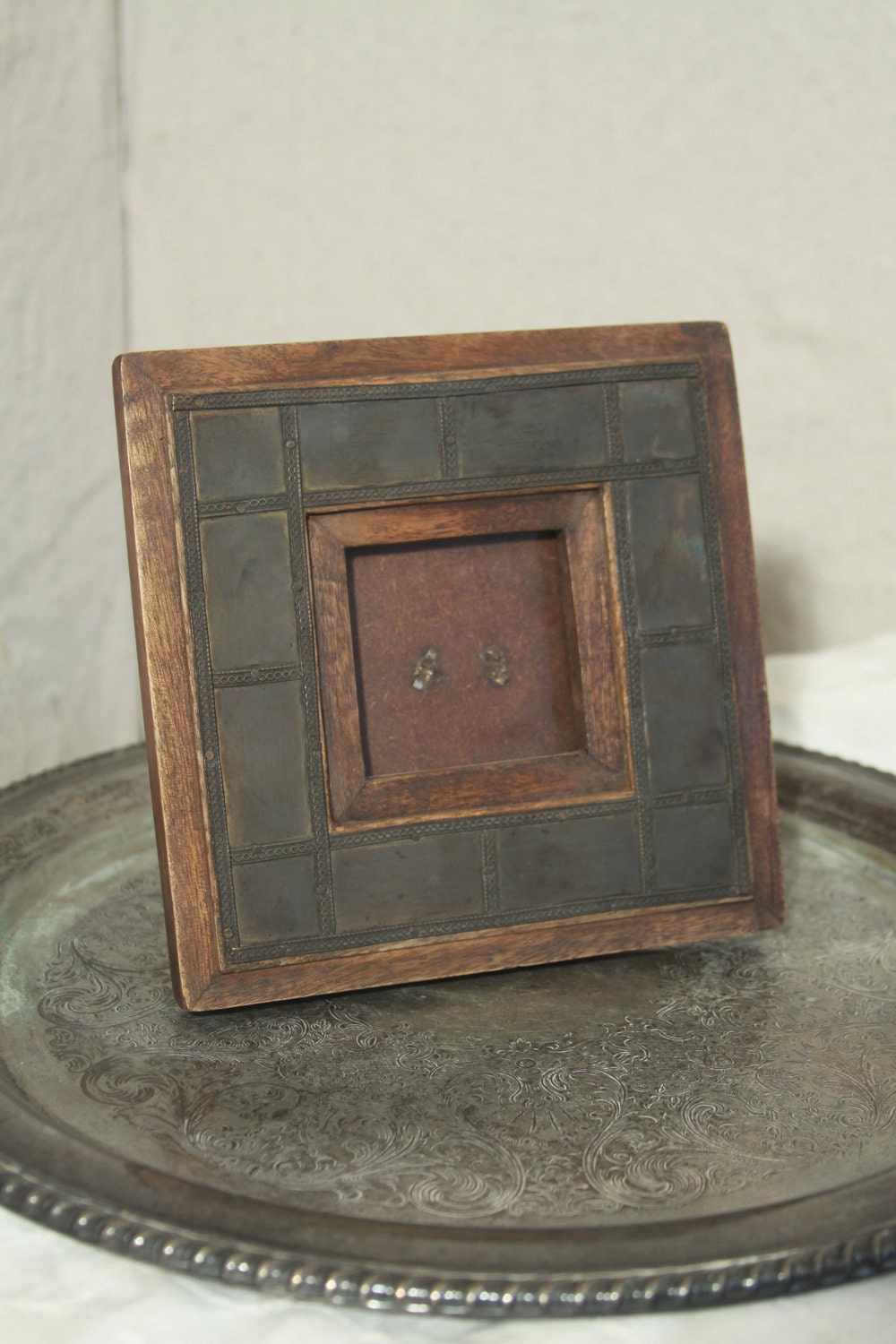 small picture frame rustic metal and wood mini by blackcathill. Black Bedroom Furniture Sets. Home Design Ideas