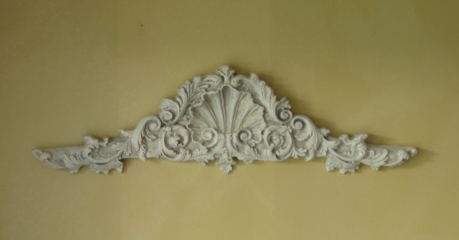 Hollywood regency large wall pediment distressed by for Hollywood regency wall decor