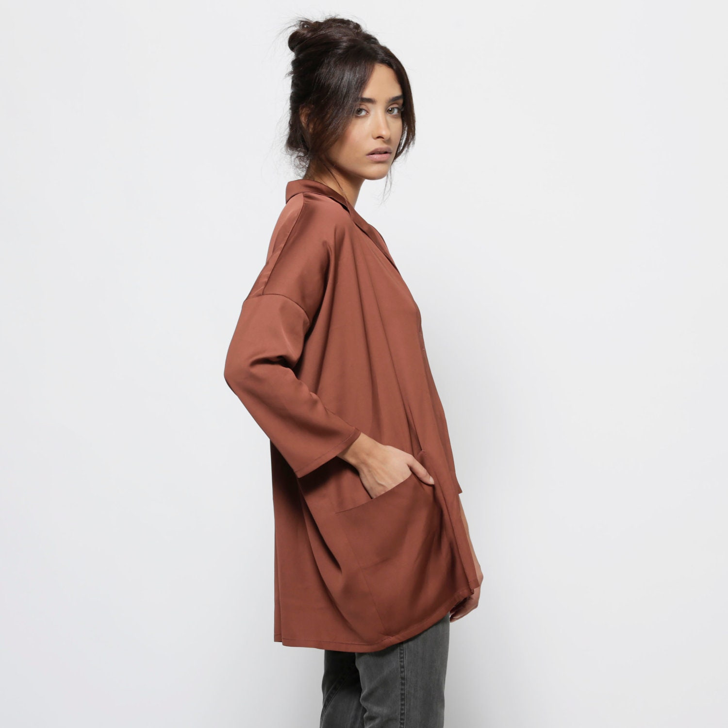 Brown oversize women top, bordo blouse, 3/4 sleeves - AndyVeEirn