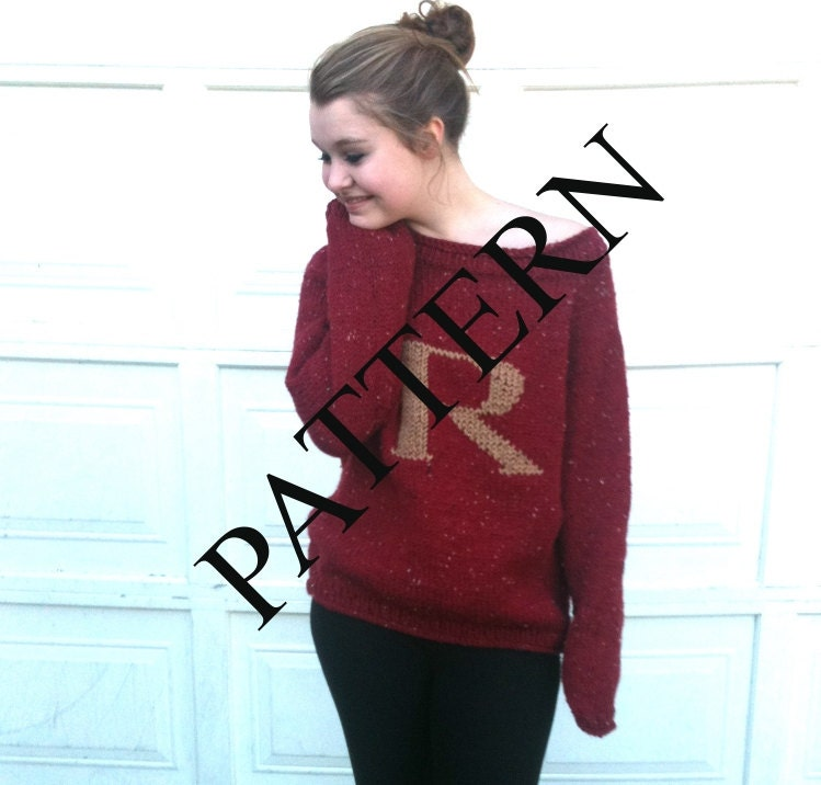 PATTERN PATTERN PATTERN Red Sweater with Letter R by GoodYarns