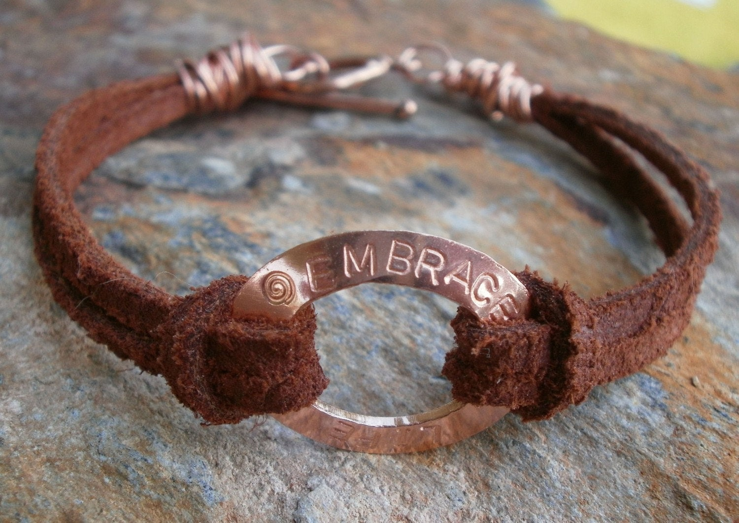 Embrace Life - Handstamped and Handforged Solid Copper Bracelet with a Chocolate Brown Leather Cord by Jean Skipper