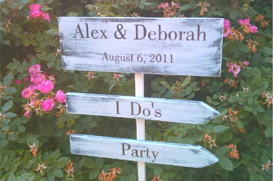 Wedding Signs in Your WEDDING COLORS STYLE 3pc Set Rustic Wedding Beach