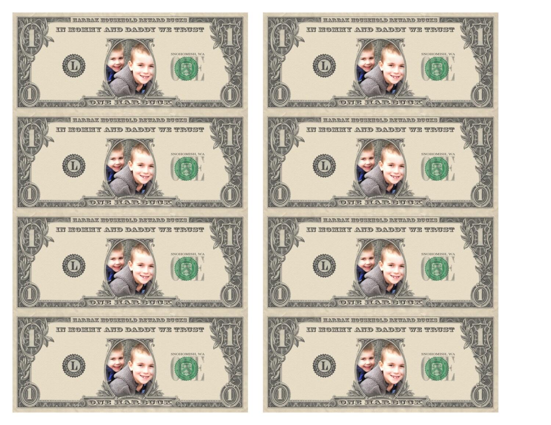Personalized Kid's Reward Bucks / Dollars / Play Money - Chore ...