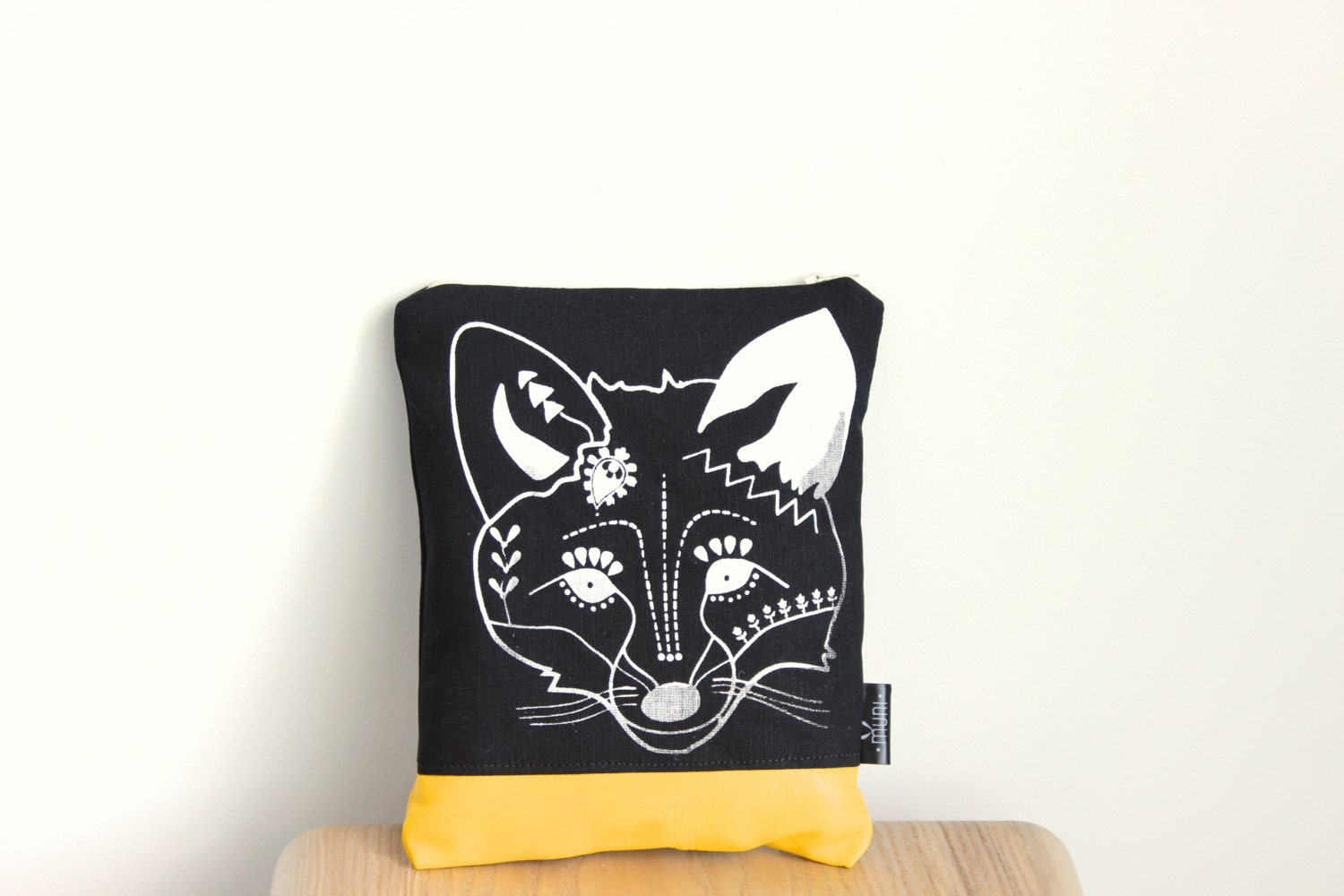 Black makeup bag / linen pouch/ screen printed Fox design - MUNIshop