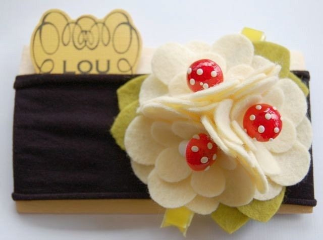 Mushroomie bunch headband with vintage spun cotton mushrooms and yellow velvet ribbon