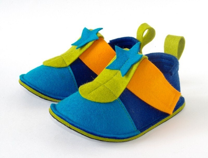 Toddler shoes Blue Pop Star -  soft soled toddler booties navy blue, azure, green & orange with non slip soles - toddler slippers