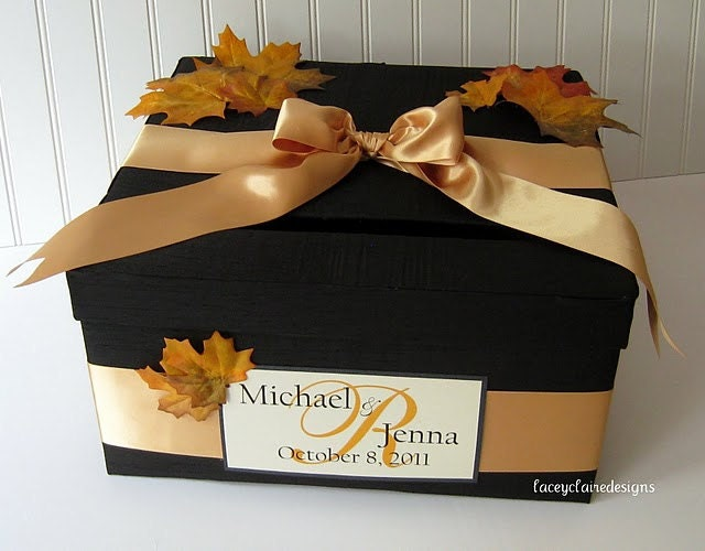 Fall Wedding Gift Card Box : Wedding Gift Card Money Box Fall Autumn by LaceyClaireDesigns