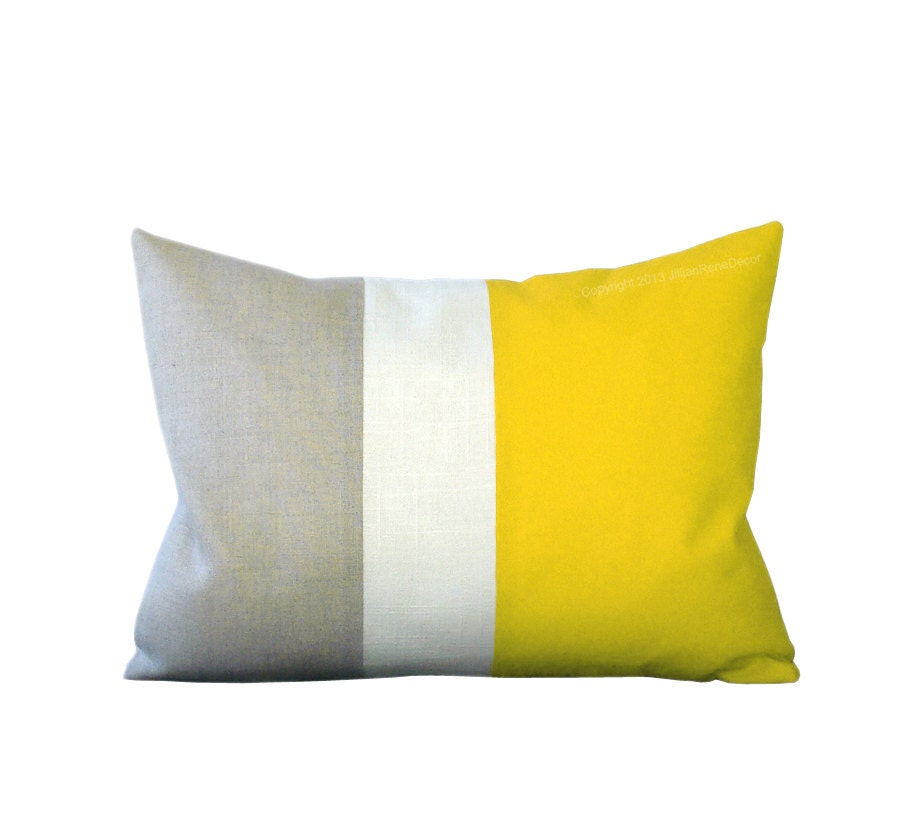 Lemon Linen Color Block Cushion Cover with Cream Stripe by JillianReneDecor - Spring Summer Home Decor - Bright Yellow - JillianReneDecor