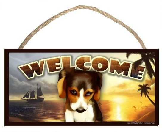 "The Guilty Beagle (portrait view) Summer Season 10"" x 5"" Wooden Welcome Sign"