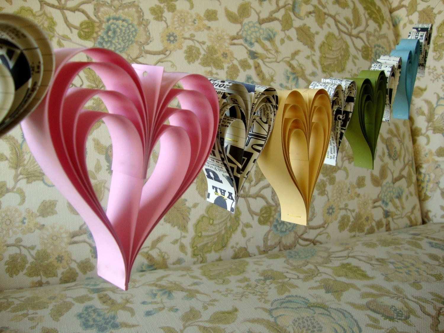 READY TO SHIP Spring Fling Heart paperie  a garland of hand cut hearts