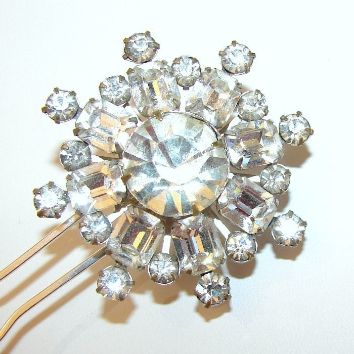 Hairpin Vintage Rhinestones Formal Wedding Bride