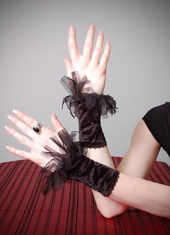 Glamour burlesque tutu Black sequin Velvet Wristlets Cuffs