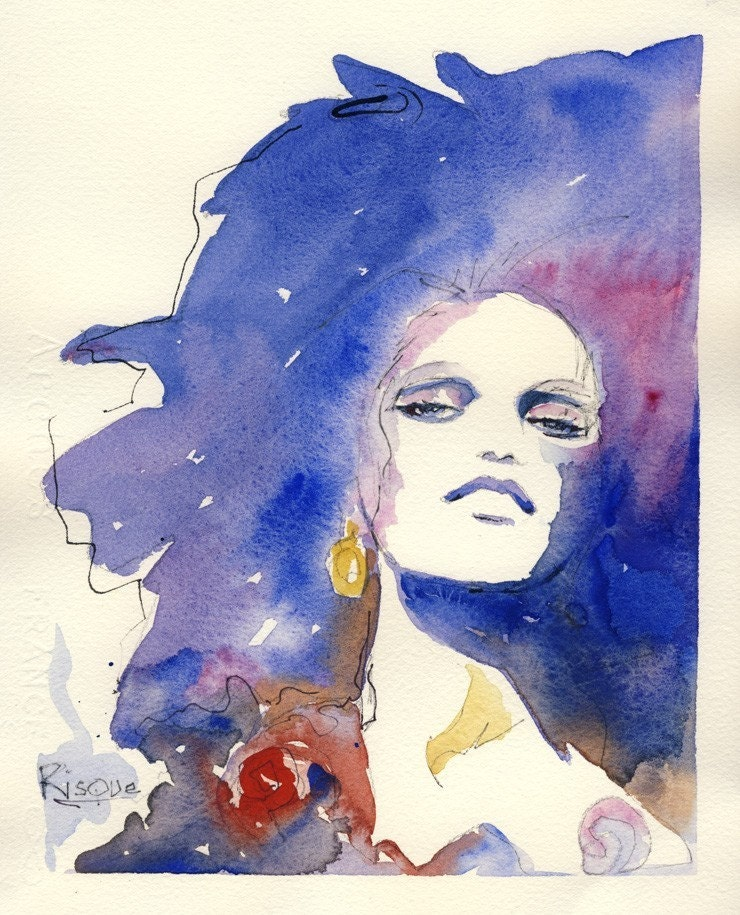Water color Fashion illustration print- risque