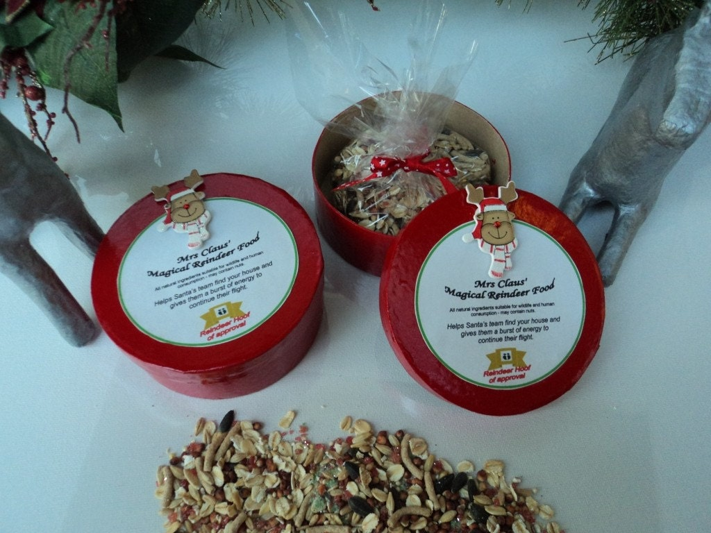 Unique Reindeer Food.  Mrs Claus'' MAGICAL REINDEER FOOD in a beautiful Shiny Red Box by White Mango Australia