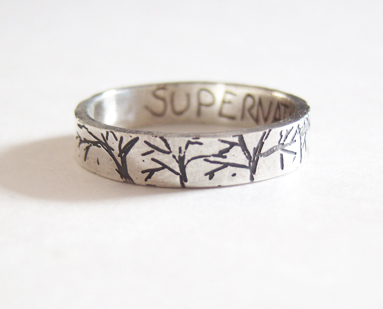 Supernatural creepy forest etched silver ring with SUPERNATURAL etched inside. - ArdentArgent