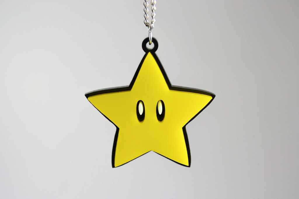 Mario Power Star Necklace - Laser Cut Acrylic Gaming Necklace