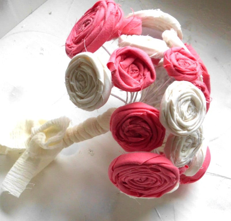 Wedding Bouquet, Rosettes, Custom Colors, Bridal Bouquet, Fabric Flower Bouquet, Rustic, Country, Shabby Chic, lollipop flowers, bouquets