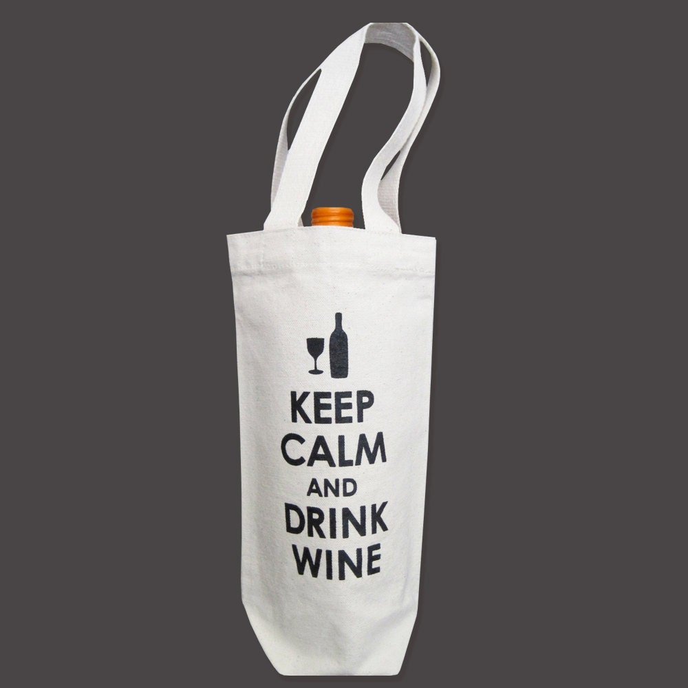 SALE Recycled Cotton Canvas Wine Bag Keep Calm & Drink by ...
