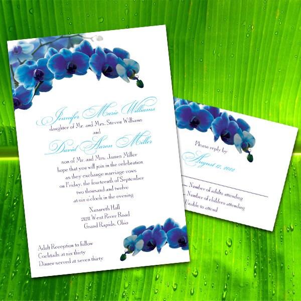 custom blue orchid wedding invitations by puttinontheglitz4u