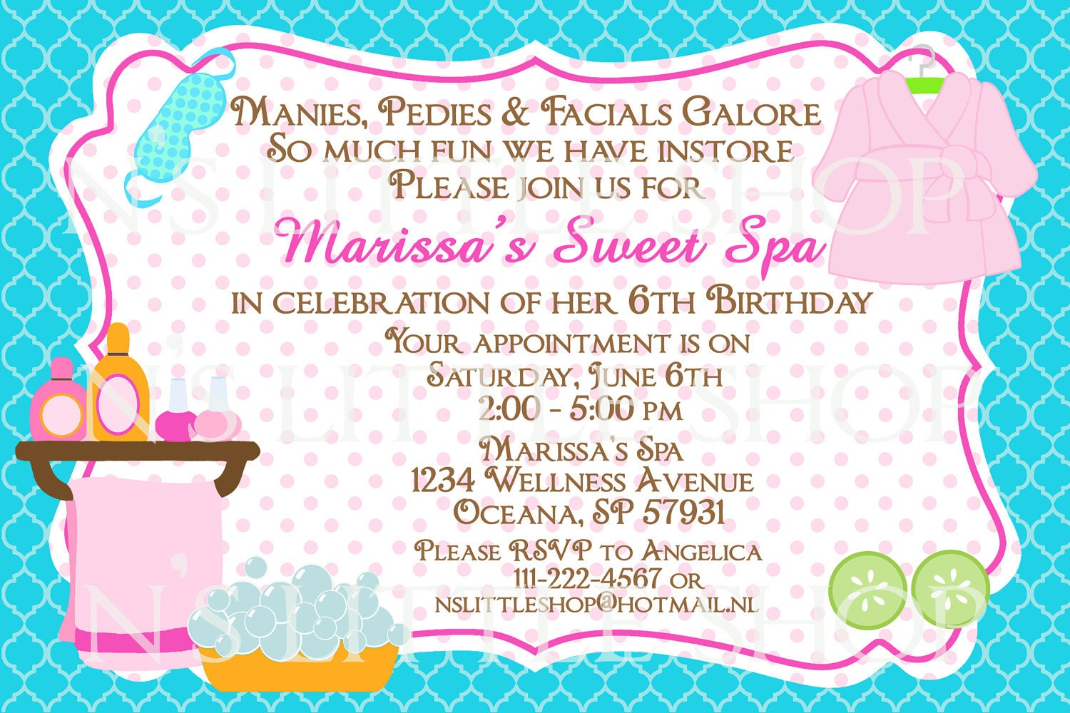 Spa Party birthday invitation card / customize/ by nslittleshop