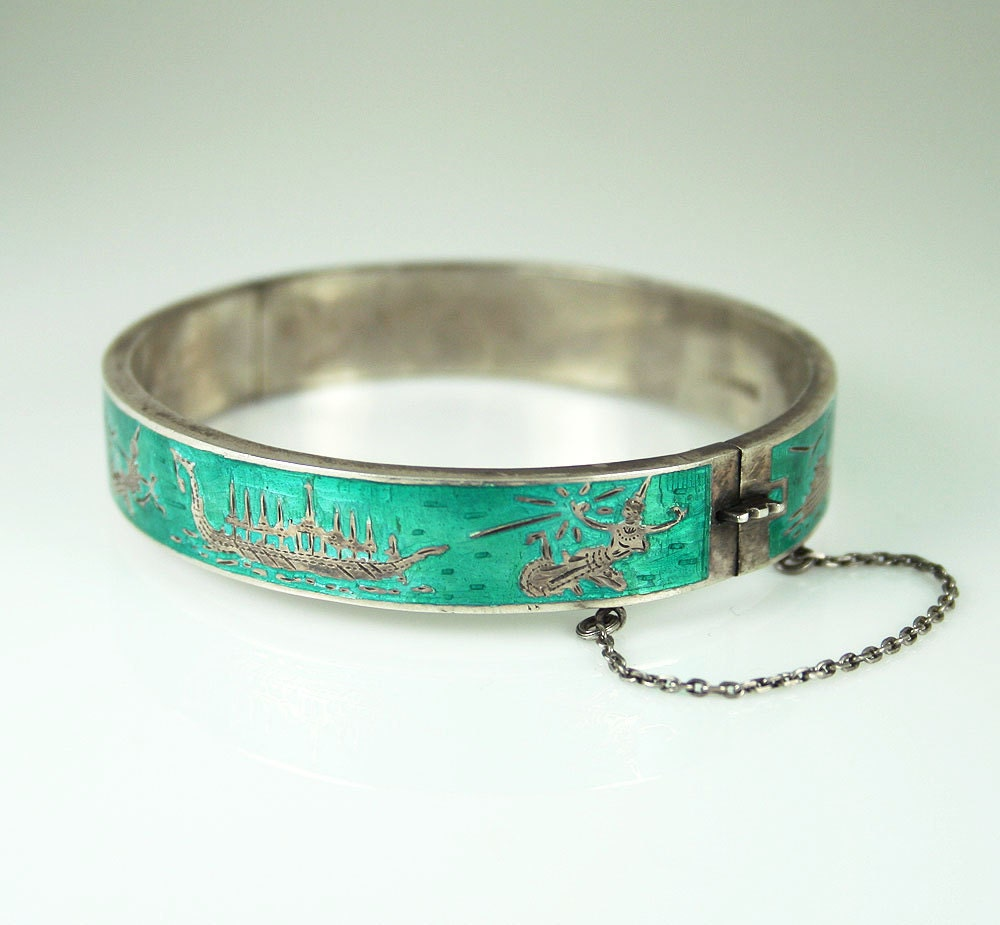 Vintage Siam Sterling Bracelet Teal Enamel Hinged By