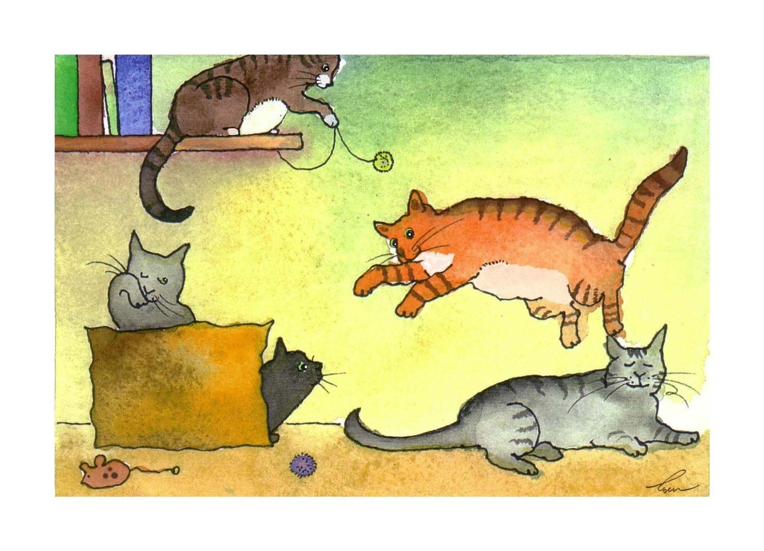 Funny Cat Watercolor Card Print/ Kitty Playtime