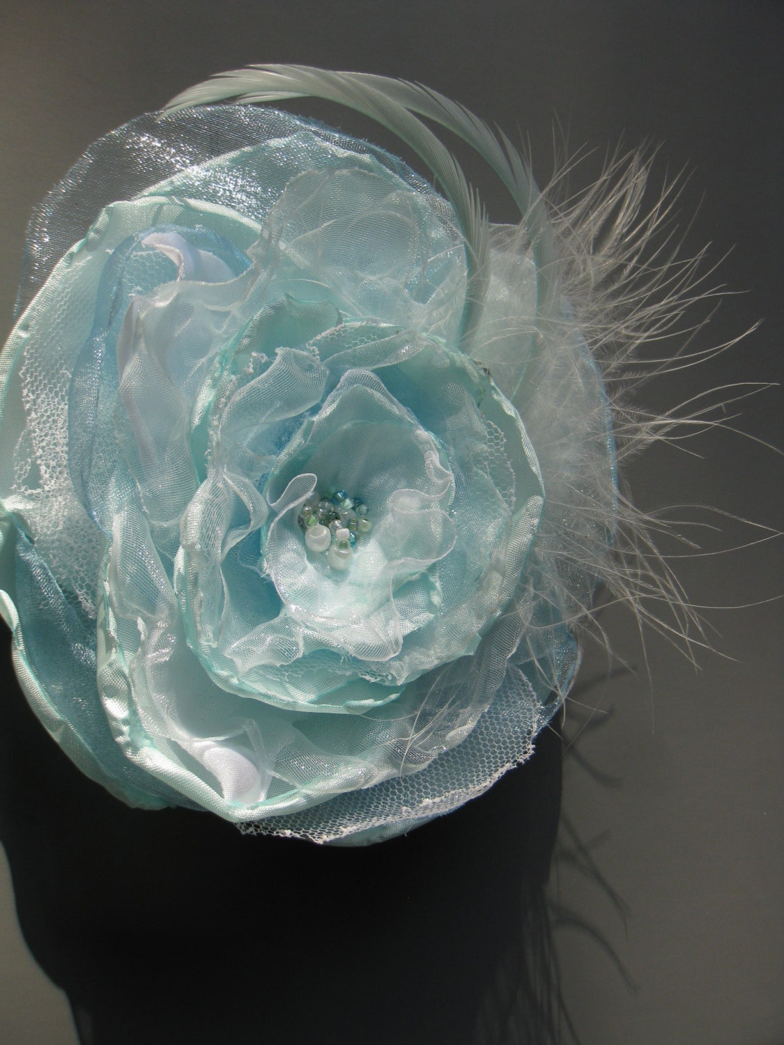 Fabric Flower Mint in blue green and white  12 cm