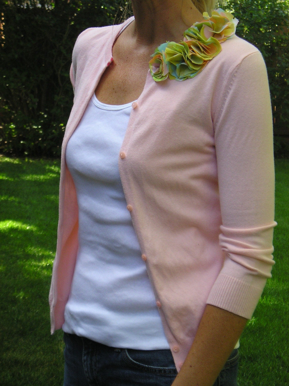 Upcycled Cardigan -- Just Peachy