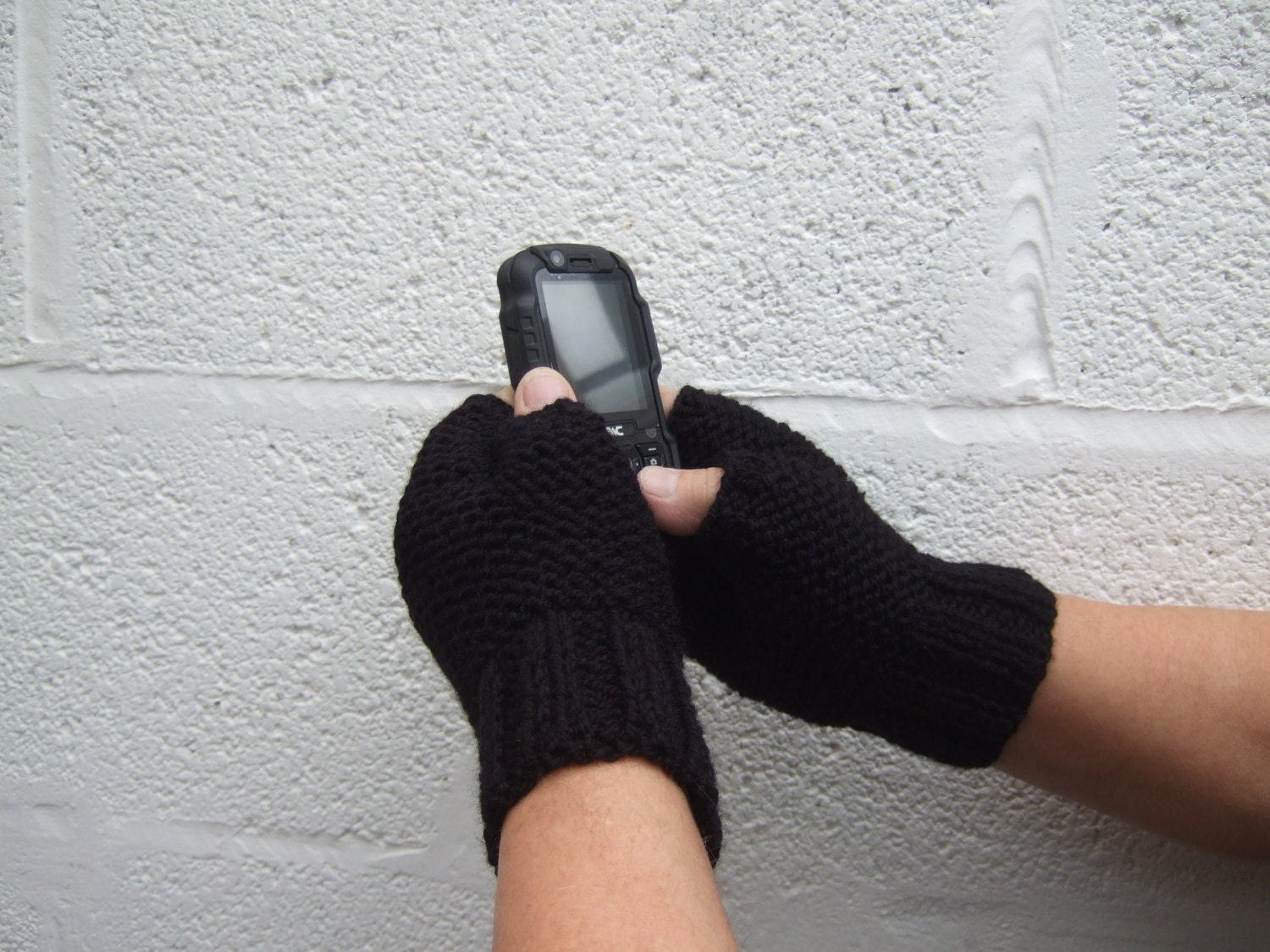 Mens Black Hand Knit Fingerless Gloves Fathers Day Gift Gifts for Him