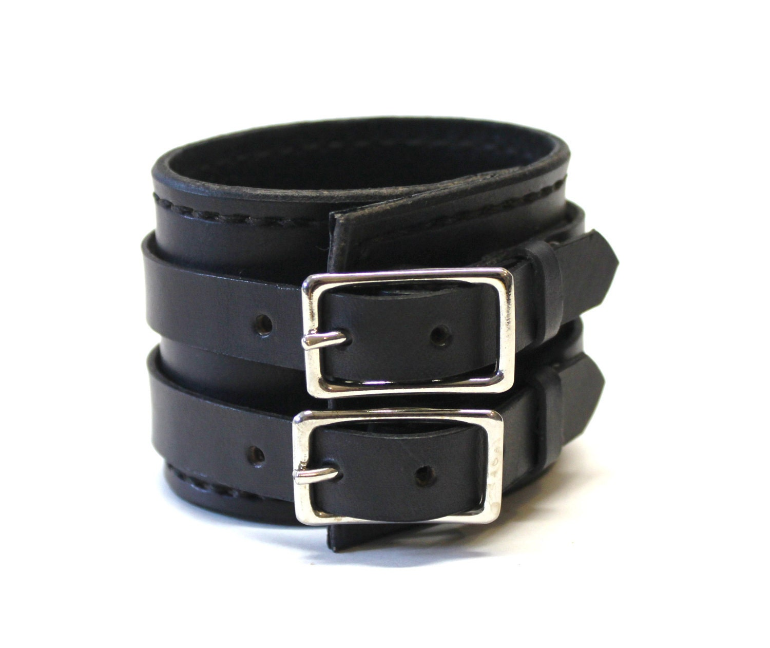 Black Leather Cuff Bracelet Adjustable with Buckles Mens Leather Cuff Womens Leather Cuff