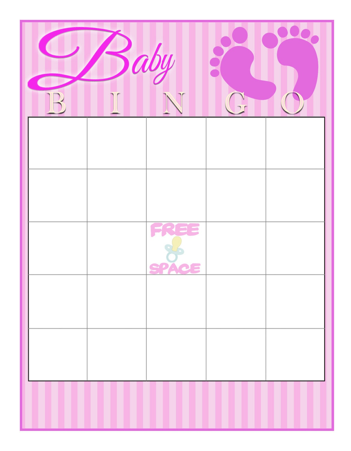Free Blank Baby Shower Bingo Cards To Print