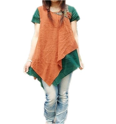 Chinese Style Irregular short sleeved shirt