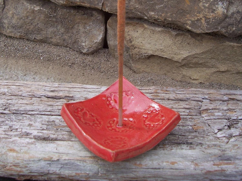 Small Handmade Red Incense Burner, Candle Holder, Tea Bag Holder  or Soap Dish