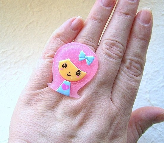 Funky  Japanese Ring - Cute Girl With Pink Hair