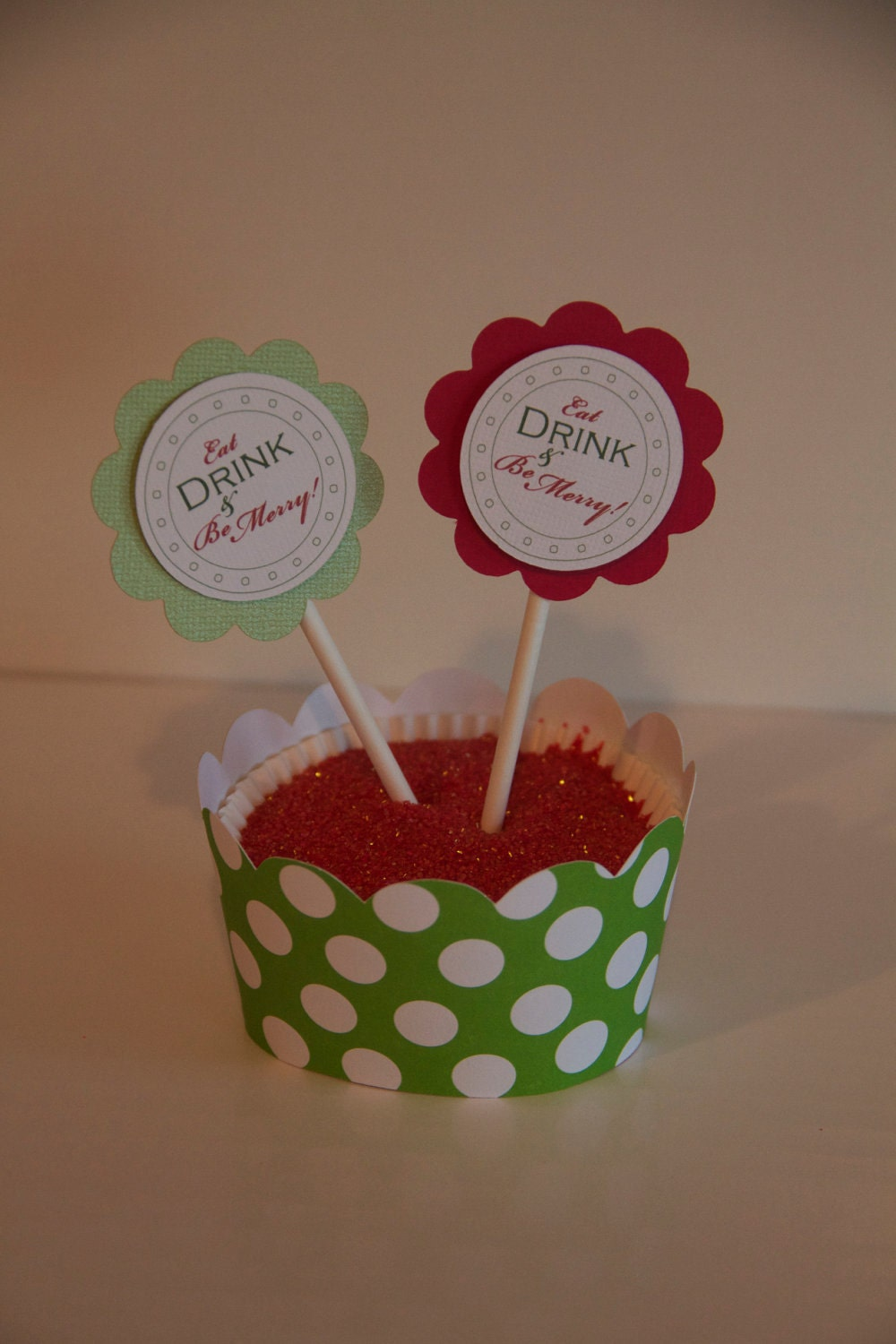 Eat Drink and Be Merry Red Cupcake Toppers